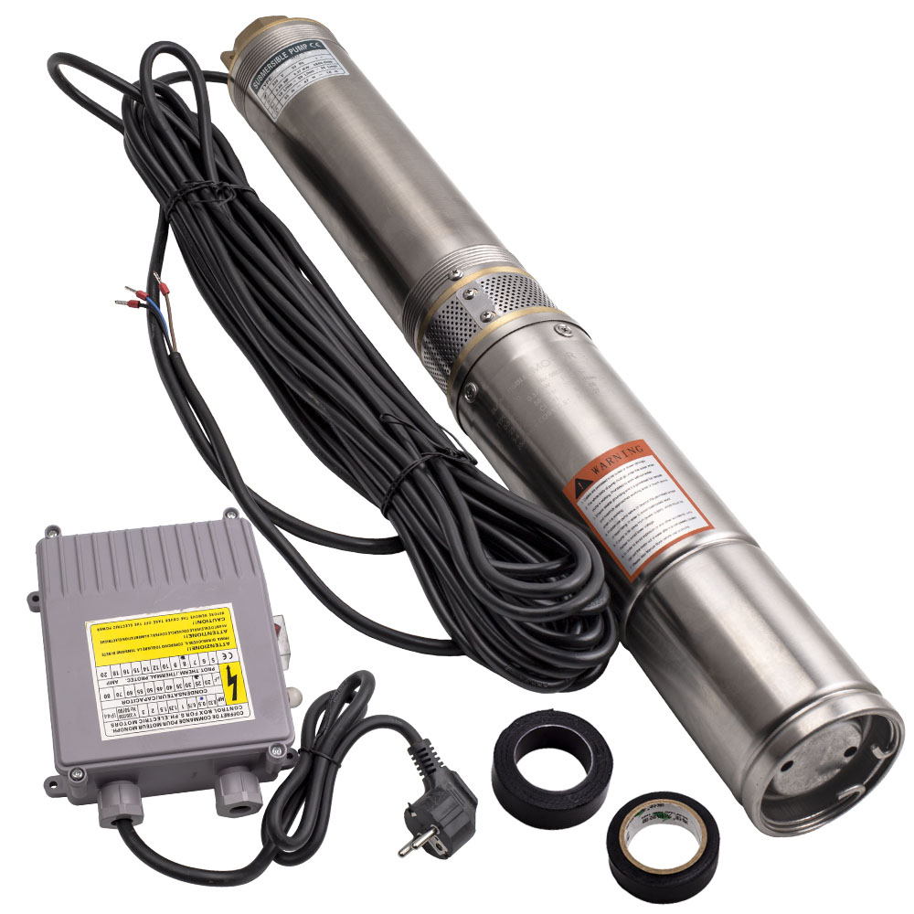 Погружной водяной насос для бурения, 4 дюйма, 370 Вт, 6000 л/ч, длительное время работы + кабель 20 м, нержавеющая сталь, л/ч