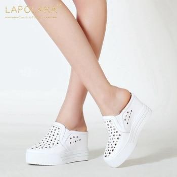 Lapolaka 2020 New Arrivals Genuine Cow Leather Slip-On Comfortable Vulcanize Woman Shoes Platform Black Shoes Women Vulcanize