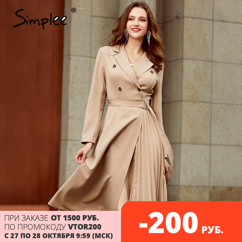 Simplee Casual suit collar autumn women dress Long sleeve office lady asymmetrical long dress Slim with belt A-line female dress