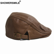 SHOWERSMILE Khaki Flat Cap for Men Women Real Leather Beret Hat Cowhide Solid Male Female Winter 2019 New Duckbill Ivy Hats