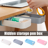 Storage Box Stationery Case Desk Organizer Invisible Under Table Office Paste On Drawer Divider ABS No Trace H-best