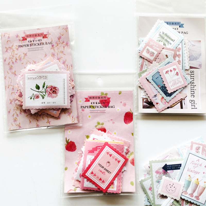 40 Pages/Pack Cute Sweet Memories Strawberry Stamp Design Paper Sticker Notebook Album Diary Decor Stick Label Kid Gift