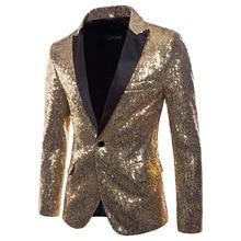 Shiny Gold Sequin Bling Blazer Men Nightclub Prom Suit Jacket Mens Slim Fit One