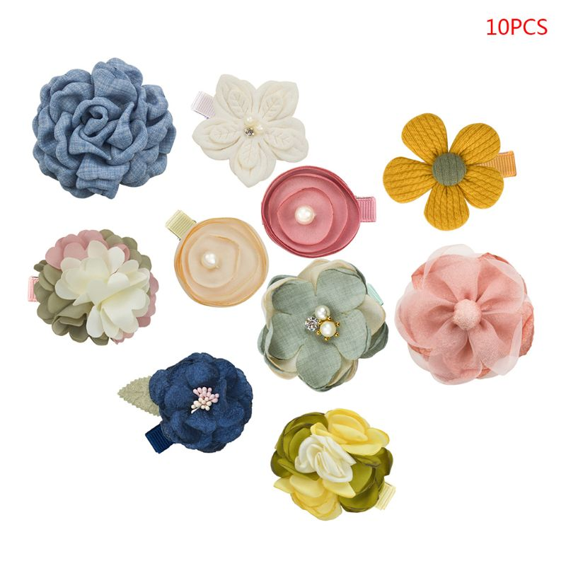 Baby-Girls Flowers-Hair-Clips Fully Lined Hair Accessories 10pcs 10 Pcs