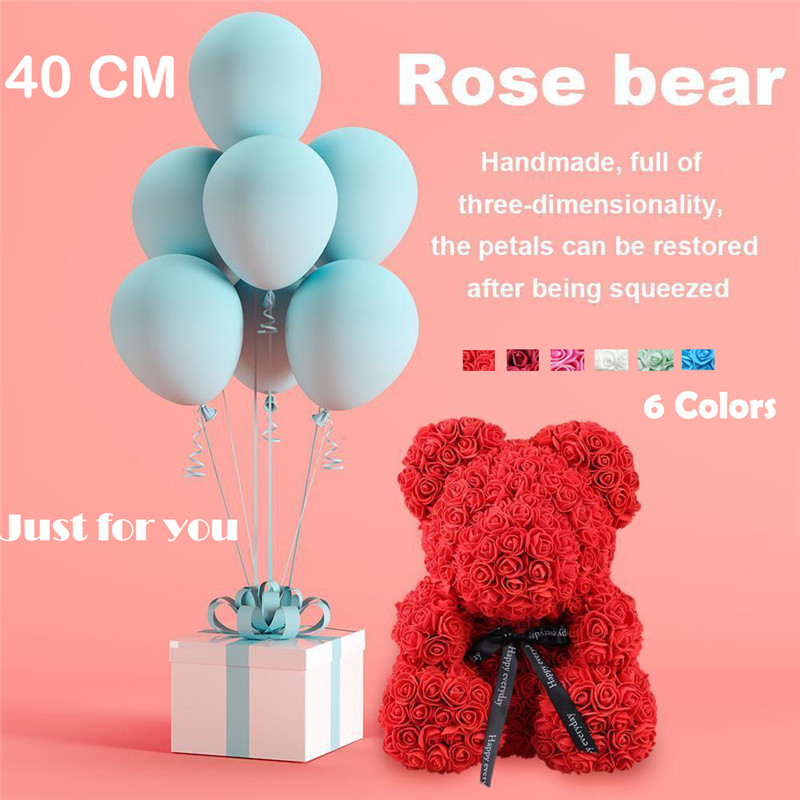 40cm/ 25cm Pink Rose Teddy Bear Heart Flower Gift For Mother's Day Birthday Wedding