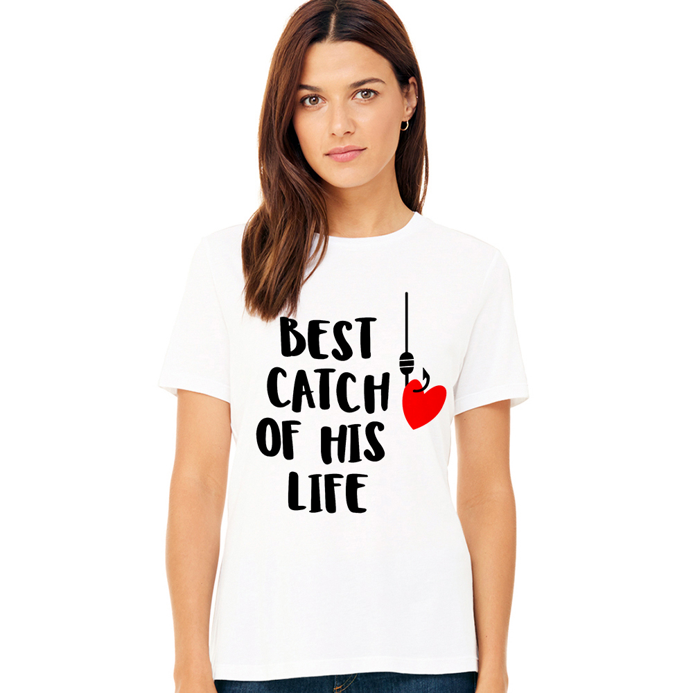 One Lucky Fisherman Best Catch of His Life Funny Fishing Shirts Fishing Couples TShirts Husband Wife T Shirt Valentines Day Gift