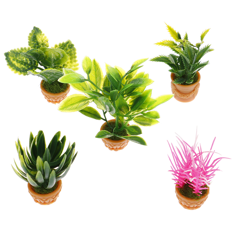 Planta de plástico escala 1:12 /& Olla Casa De Muñecas Jardín