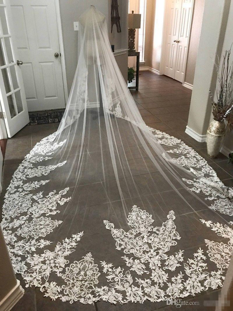 Best Selling Cathedral Length Bridal Veils With Appliques In Stock Long Wedding Veils 2019 Vestido De Noiva Longo Wedding Veil