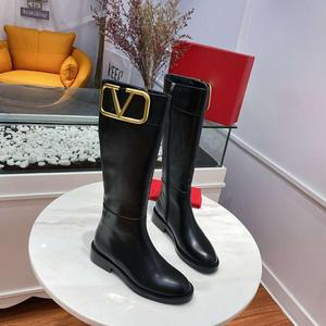 Genuine Leather 2020 New Autume & Winter Boots For Women Knee-High Metal Decoration Femal Boots Zipper Round Toe Boots Women