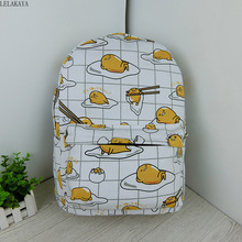 Cartoon Cat Yellow Gudetama Lazy Egg Student Shoulder Bags Action Figure Printed Canvas Kids Fashion School Backpack gifts New