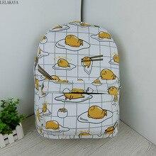Dessin animé chat jaune Gudetama paresseux oeuf étudiant sacs à bandoulière Figure daction imprimé toile enfants mode école sac à dos cadeaux nouveau