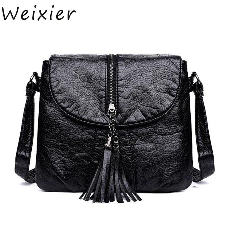 WEIXIER Sale Soft Leather Women Bag Metal Tassel Decor Handbags Lady Shoulder Crossbody Messenger Female Purse Tote LY-68