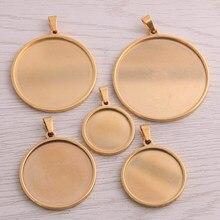 5 sztuk złota ze stali nierdzewnej okrągłe 20-40mm cabochon baza ustawienia diy puste tace wisiorek do tworzenia biżuterii