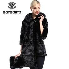 Abrigo de piel auténtica para mujer, Abrigo de piel de visón Natural de talla grande con capucha, chaquetas largas de visón auténtico para mujer, ropa Vintage de gran tamaño