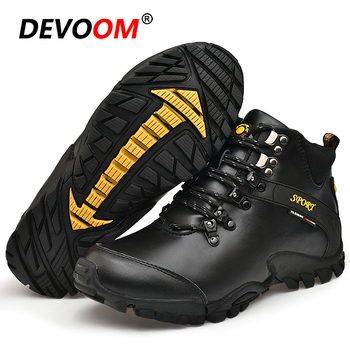 Waterproof Hiking Boots Men Fur Genuine Leather Tactical Combat Army Boots Outdoor Climbing Trekking Shoes Non-slip Sneakers Men