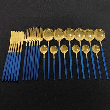 24Pcs Dinnerware Set Blue Gold Shiny Fork Spoon Knife Cutlery Stainless Steel Western Silverware For Kitchen Tableware Set