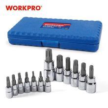 "WORKPRO 13PC Torx Bits Socket Set 1/4"" 3/8"" 1/2"" Dr. Bit Sets Home Tool Kits"
