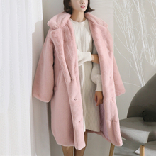 Luxury Long Fur Coat 2019 New Winter Thicken Warm Faux Women Festival Pink Plus Size Rabbit Coats Robe