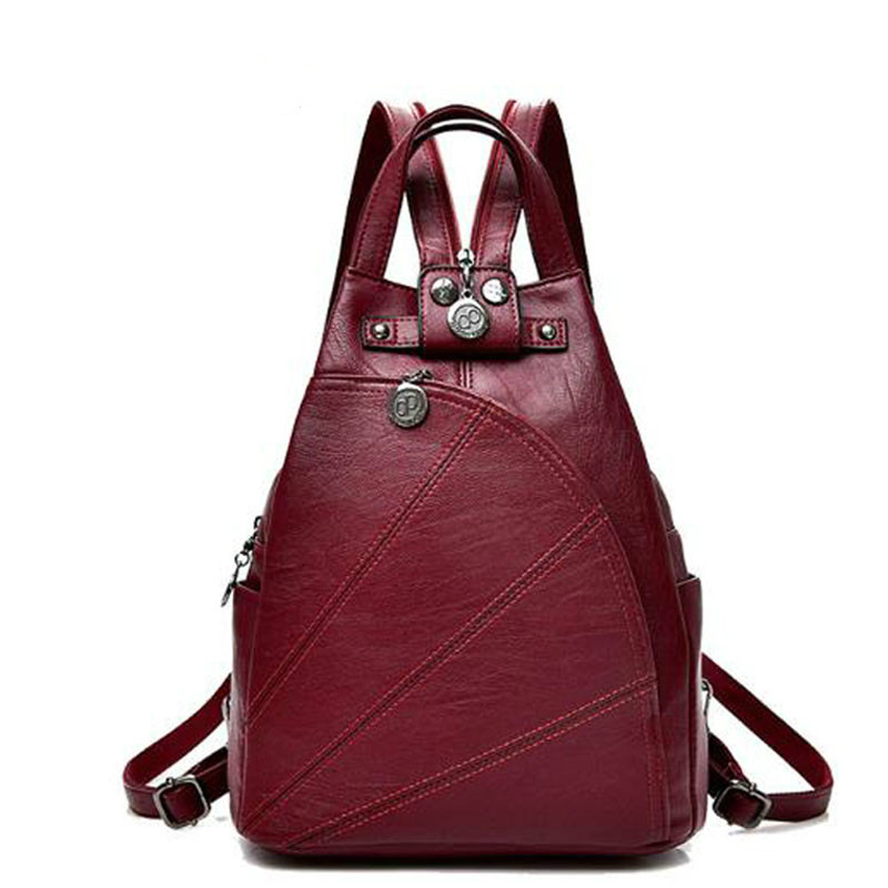 2019 Women Anti-theft Leather Backpacks Female  Ladies Backpacks Vintage Sac A Dos Femme Female Travel Shoulder Bags Back Pack