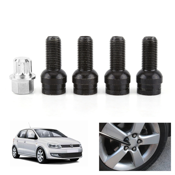 1 Set 14mm Anti-theft Wheel Screw Bolt and Lock Lug Nut Fit For VW Golf Jetta Beetle Passat For Audi Car Wheel Bolts Accessories image