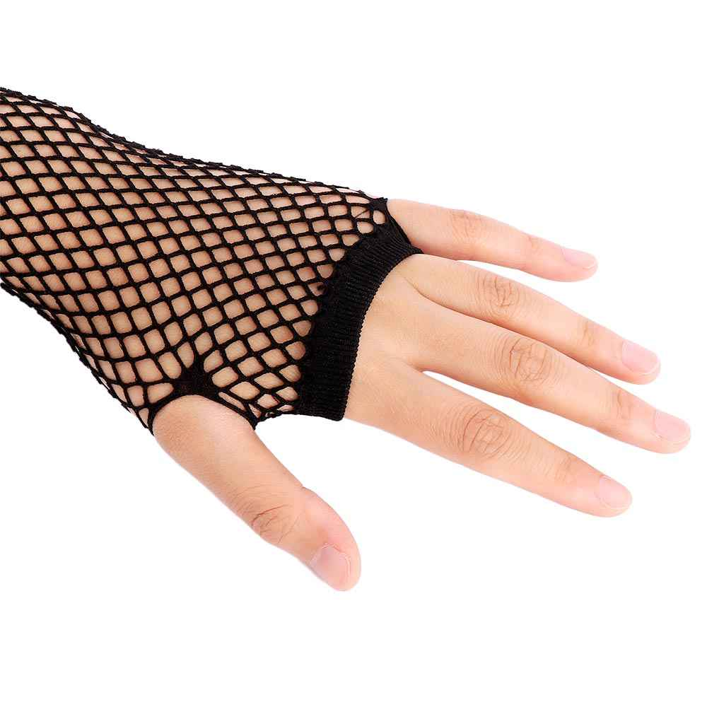 1PC 網タイツ指なしロング手袋セクシーな脚腕カフゴスパンク仮面女性ダンス衣装女性黒夏ホット販売