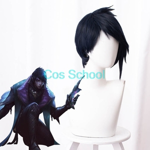 Image 3 - Cos בית ספר Aphelios פאה LOL ליגת של אגדות Aphelios קוספליי פאות כחול קצר שיער + כובע פאת ליל כל הקדושים משחק לשחק פאות