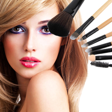 Hot sale Makeup Brush Set with bag Powder Foundation Eye shadow Make Up Kits 8pcs/set leather Leopard Bag