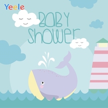 Yeele Baby Shower Photocall Whale Waves Light Tower Photography Backdrops Personalized Photographic Background For Photo Studio цена