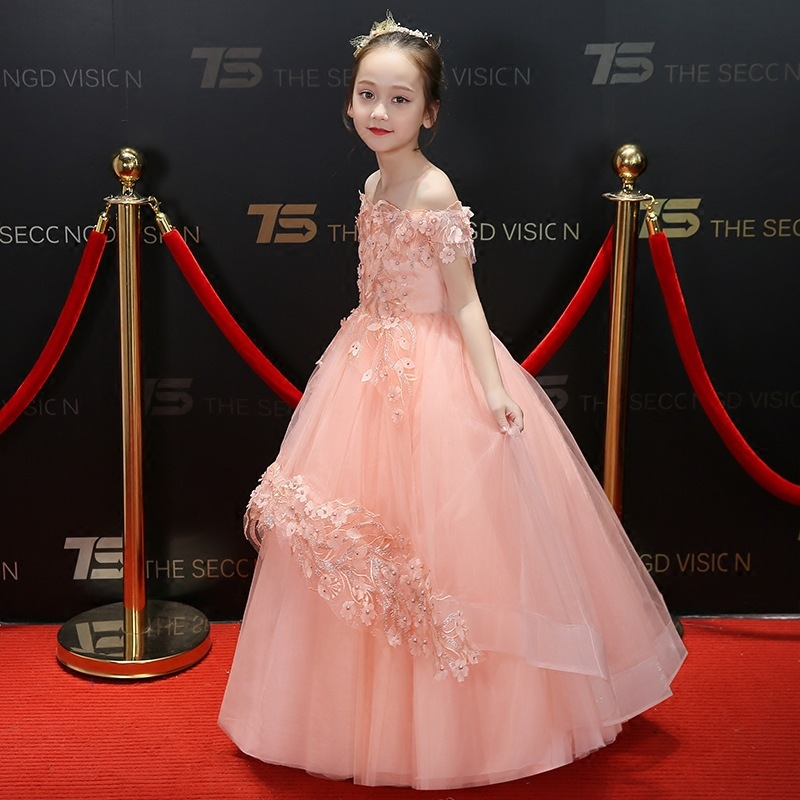 CHILDREN'S Dress Princess Dress Off-the-Shoulder Girls Tutu Catwalks Flower Boys/Flower Girls Small Host Formal Dress Piano Cost
