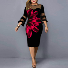Plus Size Summer Women's Dress 2021 Elegant Mesh Bodycon Floral Print Party Dress Club Night Outfits Black 2021 Dresses 5XL 6XL