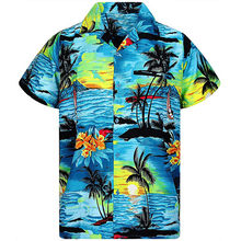 Summer Men Beach Shirt Hawaiian Print Blue Casual Shirt Men's Quick Dry Short Sleeve Hawaii Shirt Men Blouse Chemise Homme(China)