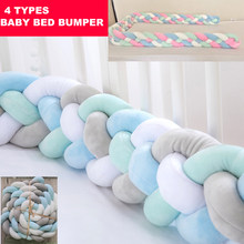 Baby Bed Bumper Knotted Braided 118.1in Handmade Soft Pillow Pad Cushion Nursery Cradle Infant Room Long Knotted Braid Pillow