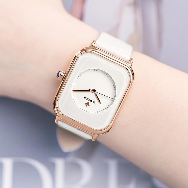 Часы наручные WWOOR женские кварцевые, модные брендовые, прямоугольные, в минималистическом стиле, с кожаным ремешком, белые, 2020
