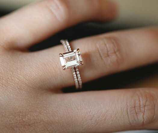 2 Stks/set Rose Goud Wit Kristal Zirkoon Wedding Engagement Eenvoudige Ring