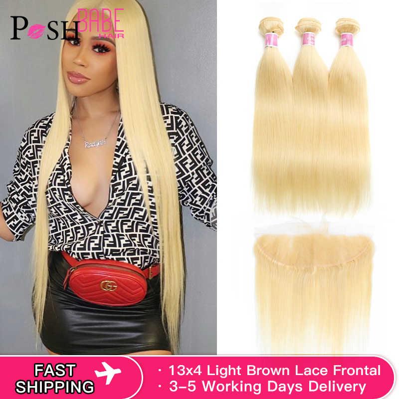 613 fascio con Frontale Blonde di Miele di Colore 13x6 Veletta Frontale Con diritto Extensions Di Capelli Umani 2 3 4 pacchi dei capelli brasiliani
