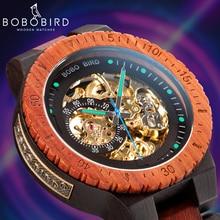 BOBO BIRD ساعة أوتوماتيكية للرجال reloj hombre ساعة يد خشبية ساعة ميكانيكية Relogio Masculino كبيرة الحجم في صندوق خشبي