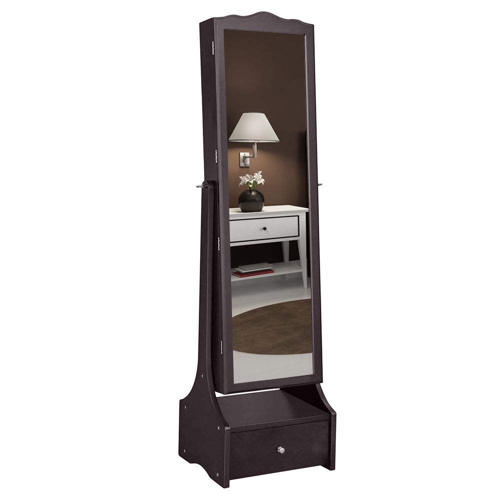 【US Warehouse】Adjustable Mirror Cabinet  Non Full Mirror Wooden Floor Standing 3-Layer Shelf With LED Lamp With Jewelry Storage