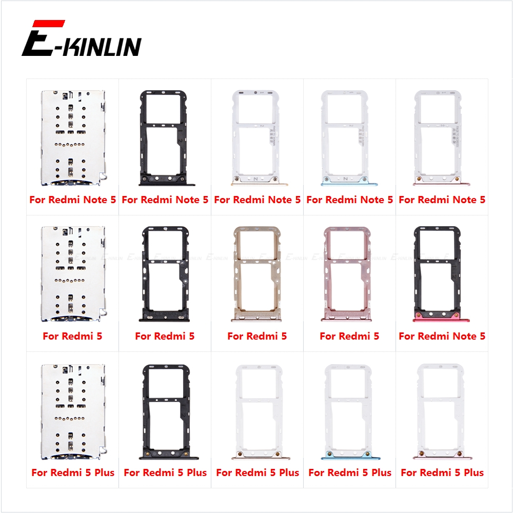 Sim Card Tray Socket Slot Reader Adapter For XiaoMi Redmi 5 Plus Note 5 Pro Micro SD Card Holder Connector Container Parts