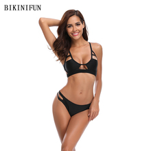 New Sexy Hollow Bikini Women Swimsuit Solid Color Bathing Suit S-XL Girl Adjustable Straps Swimwear Low Waist 2 Piece Bikini Set ring linked adjustable straps bikini set