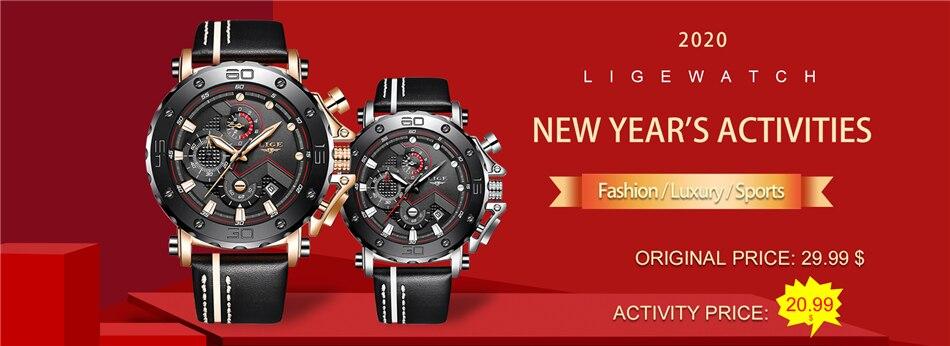 H3fea8df043f14bba81b0c23eba32a52d6 2020LIGE New Fashion Mens Watches Top Brand Luxury Big Dial Military Quartz Watch Leather Waterproof Sport Chronograph Watch Men
