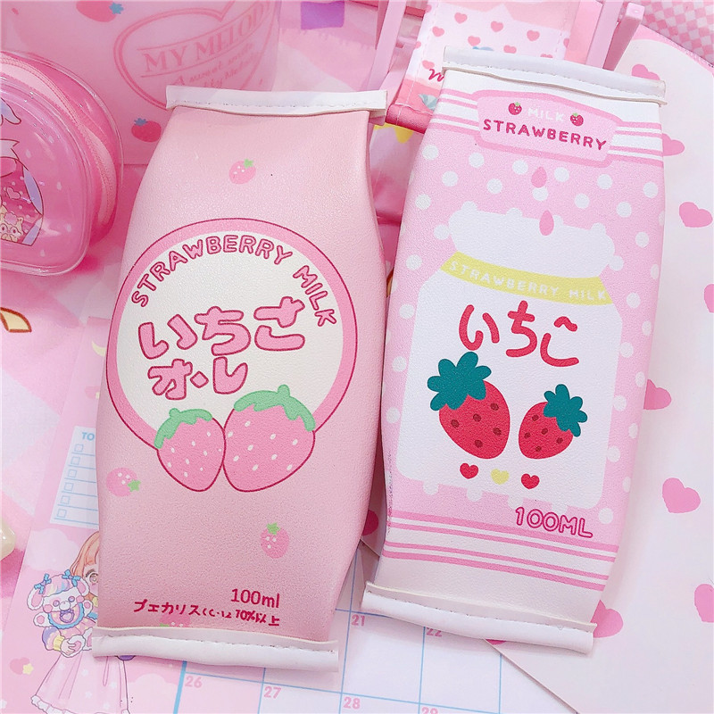 1pcs Creative PU Leather Pencil Box Milk Box Strawberry Pencil Bag Case Kawaii Stationery School Supplies Kids Gift