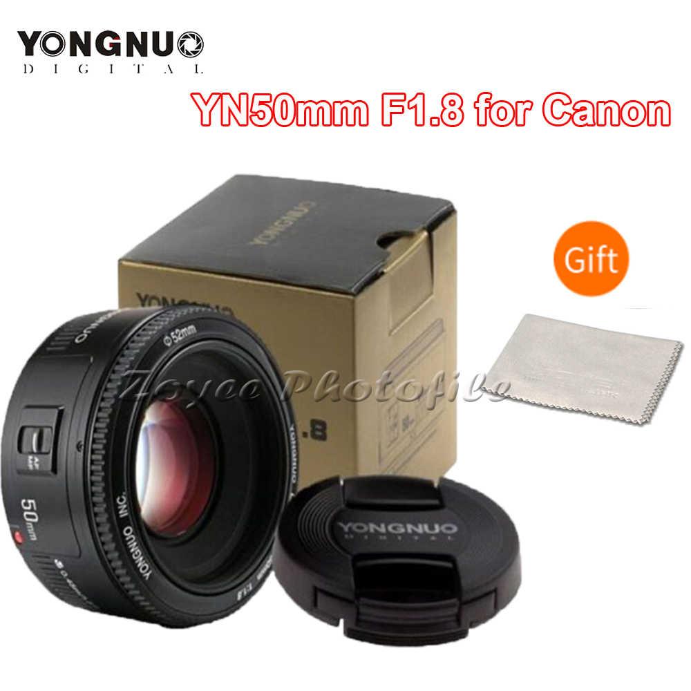 Lente de cámara YONGNUO YN50mm F1.8 para Nikon F Canon EOS enfoque automático lente de gran apertura para cámara DSLR D800 D300 D700 D3200 D3300