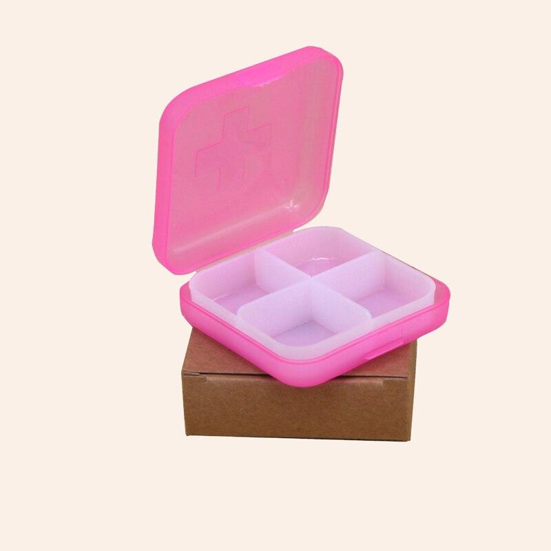 Купить с кэшбэком Travel cross medicine box 4 grid plastic medicine box square portable portable medicine box dispenser