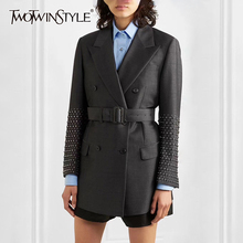 Women's Blazer Suit Elegant Pocket TWOTWINSTYLE Patchwork Long-Sleeve Female Autumn Fashion