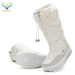 Image 5 - Botas de neve mulheres 2020 botas de inverno de alta pelúcia sapatos quentes mais tamanho 35 a grande 42 fácil usar menina branco zip sapatos femininos botas quentes