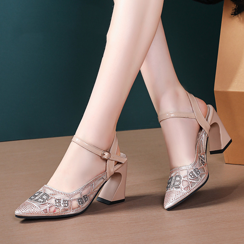 Foreign Trade Water Diamond Luxury Rough heeled Sandals Women Summer 2019 New Top Sexy Lace High heeled Mesh Roman Shoes in Women 39 s Pumps from Shoes