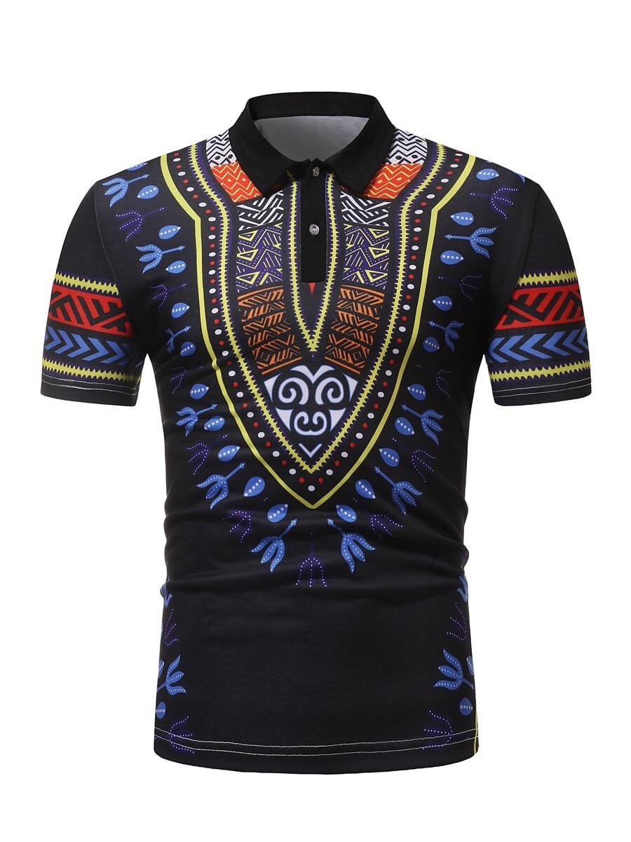 SportsX Mens Pullover Stitch Print Loose Dashiki Stand Collar T-Shirt Top
