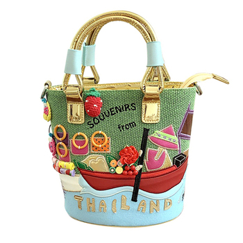 Women Bags Leather Patchwork Embroidery Handbags Girl Shoulder Bags Messenger Bag Female Totes Braccialini Style Thai Scenery