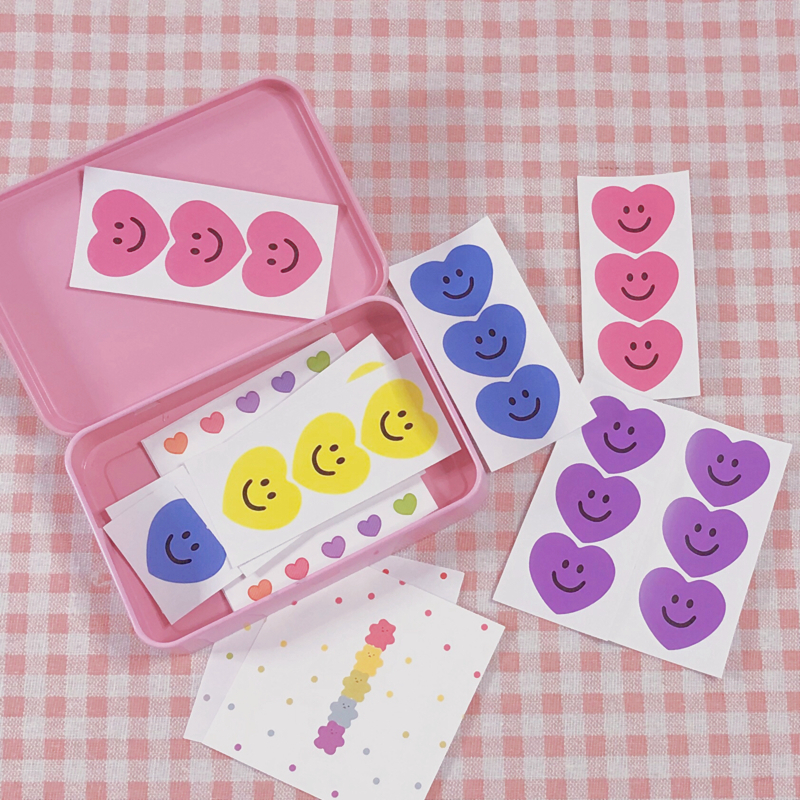 3Pcs Cute Korea Style Ins Heart Face Candy Color Sticker DIY Scrapbooking Album Diary Planner Decoration Stickers