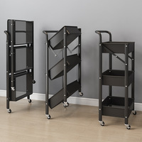 Estante de carrito plegable portátil, estante de almacenamiento de tres capas para cocina y organizador de almacenamiento para baño, instalación libre, 2021
